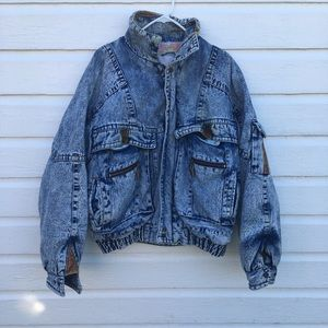 Vintage men's acid washed denim jacket 80s/90s